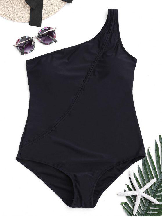 cada8f9da36 11% OFF] 2019 One Shoulder One-piece Swimwear In BLACK | ZAFUL