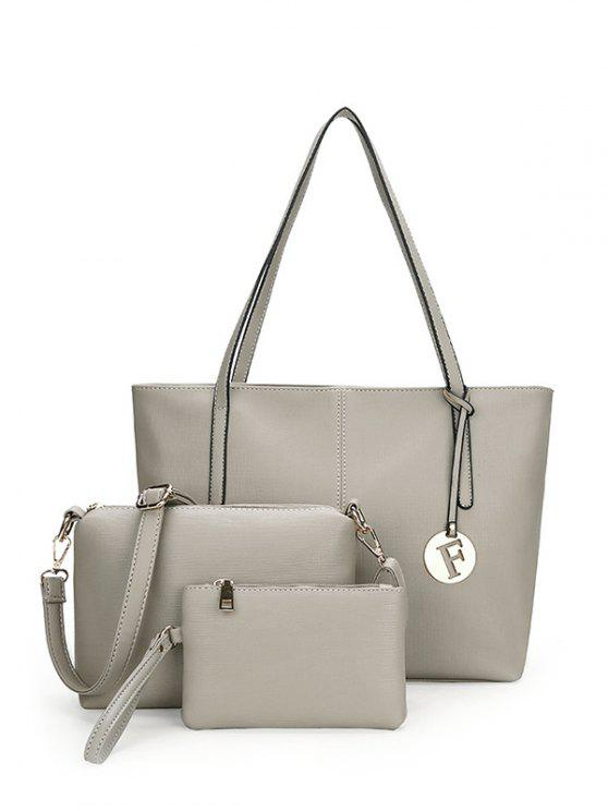 3 Pieces Stitching Faux Leather Shoulder Bag Set - Cinza