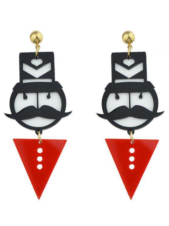 Boucles d'oreilles en forme de géométrie en moustache - Rouge