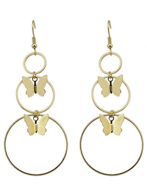 shops Metal Circle Butterfly Hook Earrings - GOLDEN