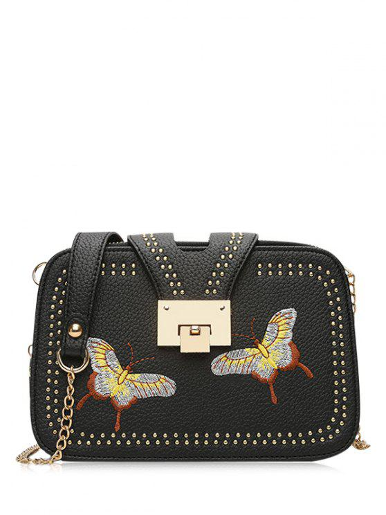 fashion Studded Embroidery Chain Crossbody Bag - BLACK
