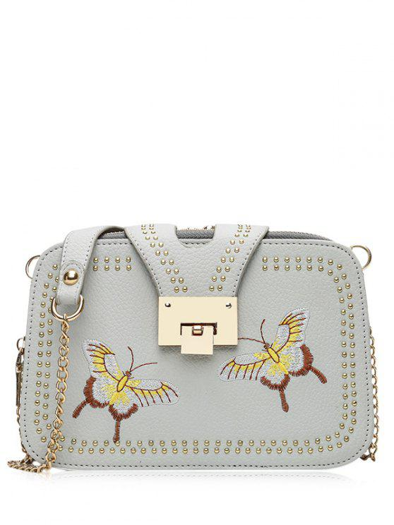chic Studded Embroidery Chain Crossbody Bag - GRAY