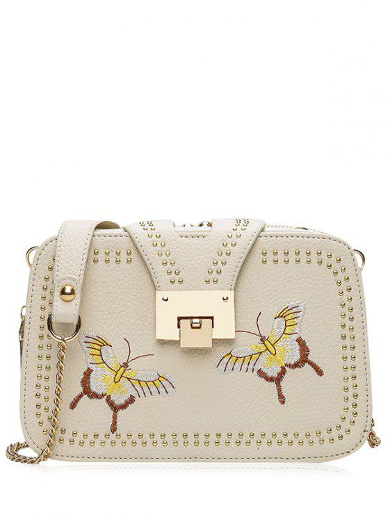 unique Studded Embroidery Chain Crossbody Bag - PALOMINO
