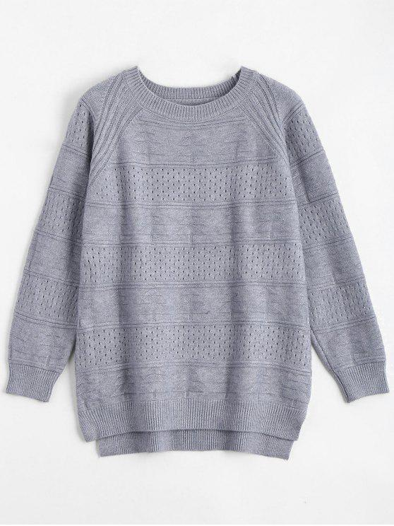 lady Hollow Out Crew Neck Sweater - BLUE GRAY ONE SIZE