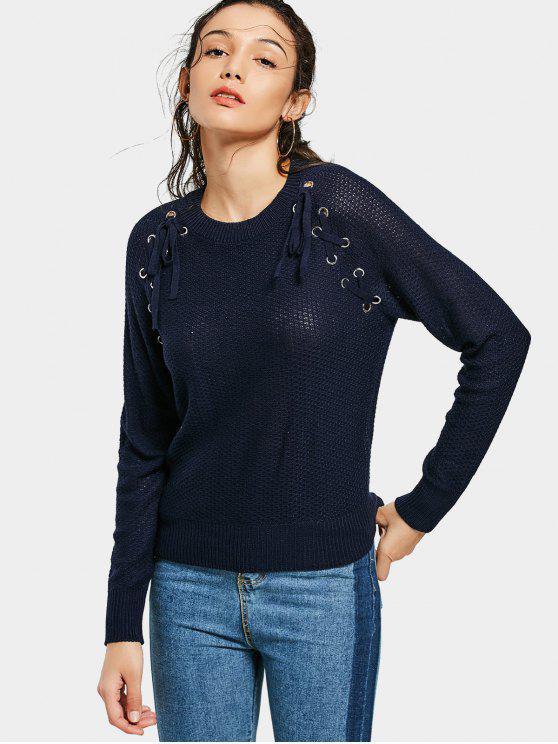 women's Fitting Sheer Lace Up Sweater - PURPLISH BLUE S