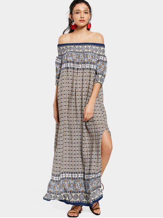 shops Printed Slit Off Shoulder Maxi Dress - PURPLISH BLUE ONE SIZE