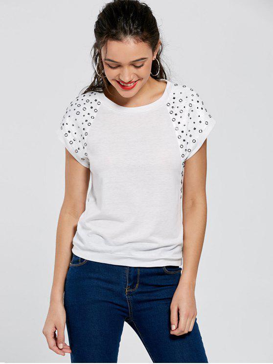 Camiseta de remache de manga Raglan - Blanco XL