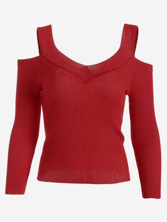 Camiseta de punto acanalada con hombros fríos - Rojo Única Talla