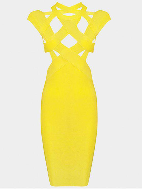 shop Cut Out Fitted Bandage Dress - YELLOW S