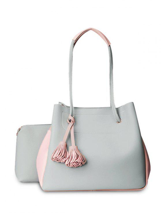 shop Tassels Colour Block Shoulder Bag Set - LIGHT GRAY