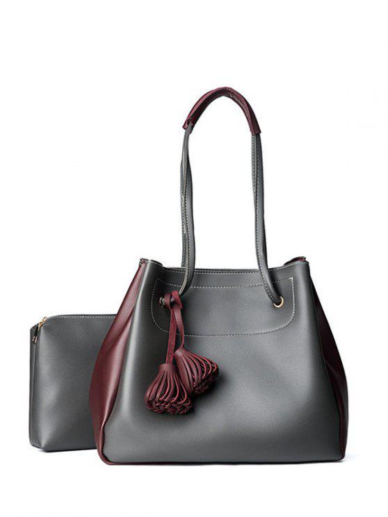 Tassels Color Block Shoulder Bag Set - Cinza Escuro