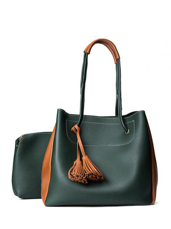 latest Tassels Colour Block Shoulder Bag Set - BLACKISH GREEN