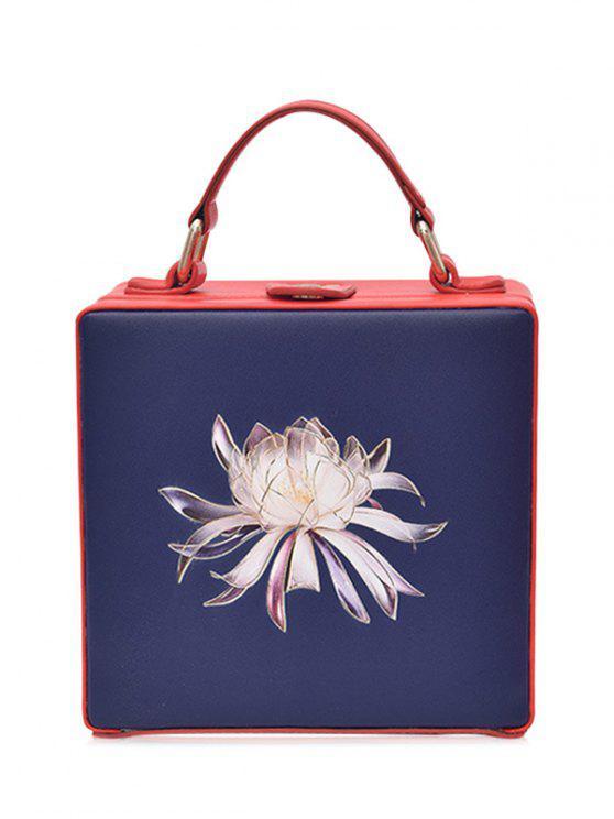 Saco Crossbody em forma de caixa de impressão floral - Azul