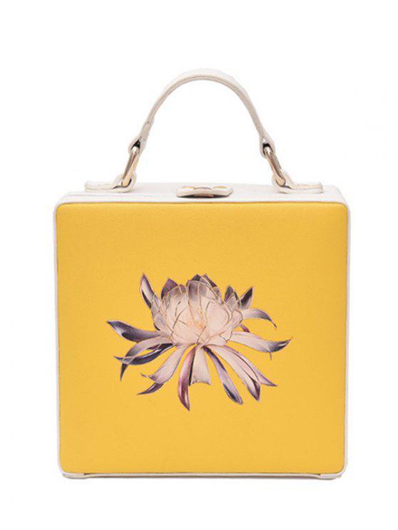 Saco Crossbody em forma de caixa de impressão floral - Amarelo