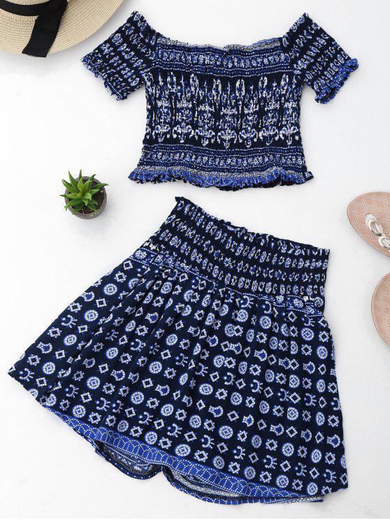 womens Tribal Print Crop Top and Skorts Set - PURPLISH BLUE L