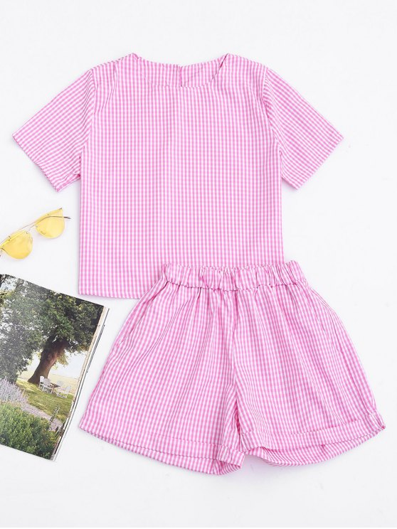 best Keyhole Plaid Top and Rolled Cuff Casual Shorts - CHECKED S
