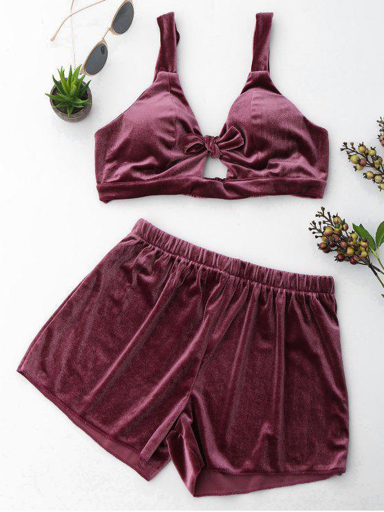 shop Cut Out Velvet Top and Shorts Set - PURPLISH RED L