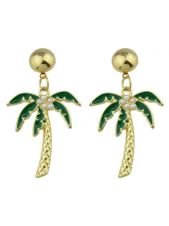 hot Coconut Tree Pendant Earrings - GREEN