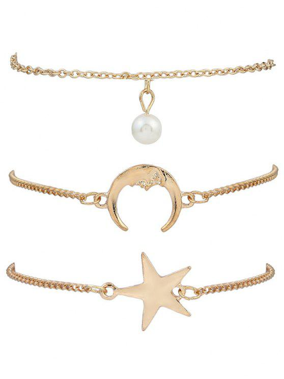 women 3 Pieces Moon Star Bracelets - GOLDEN
