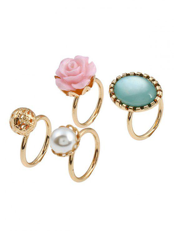 trendy 4 Pieces Rose Faux Gem Rings - GOLDEN