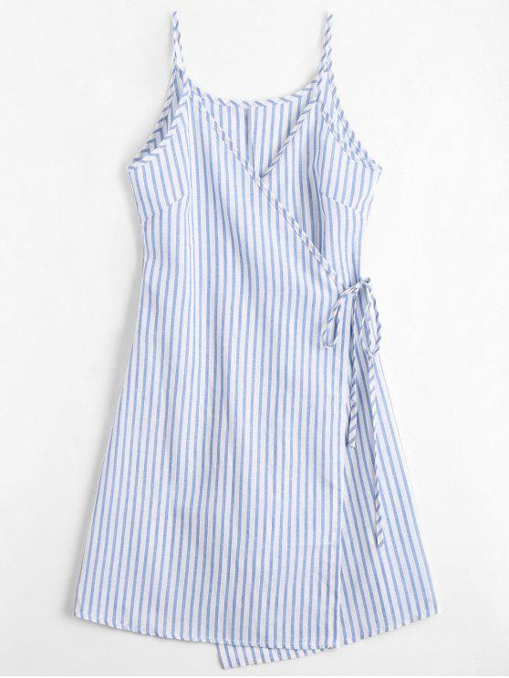 online Cami Striped Wrap Dress - BLUE S
