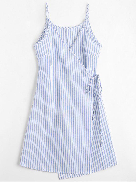 online Cami Striped Wrap Dress - BLUE S