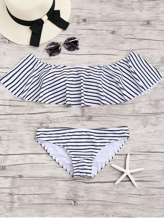 fancy Stripe Ruffles Off The Shoulder Bikini Set - WHITE S