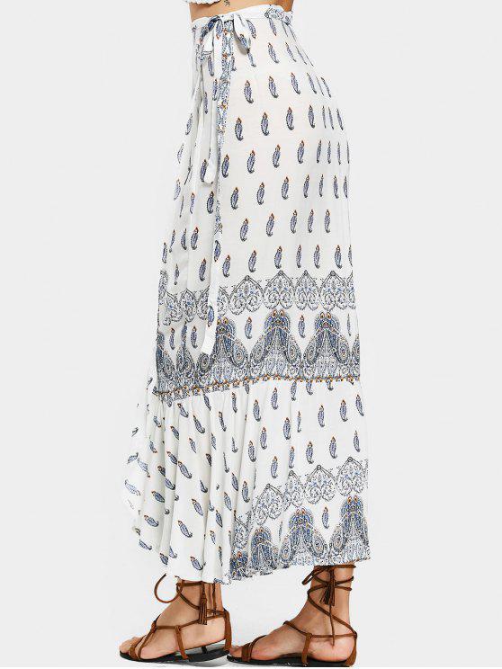 trendy Printed Asymmetrical Wrap Maxi Skirt - WHITE ONE SIZE(FIT SIZE XS TO M)