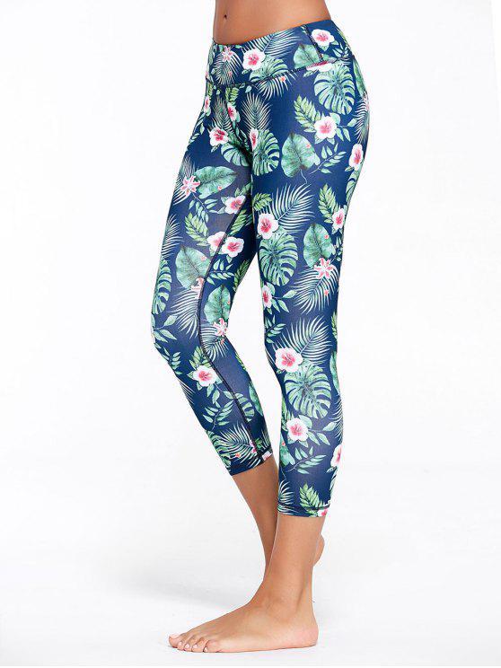 women Tropical Floral Pattern Capri Fitness Leggings - GREEN L