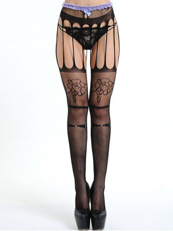 66ab1c222ee01 15% OFF] 2019 Ripped Strappy Fishnet Tights In BLACK | ZAFUL