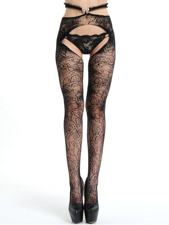 f430669f4832c 19% OFF] 2019 Crotchless Lace Fishnet Tights In BLACK | ZAFUL