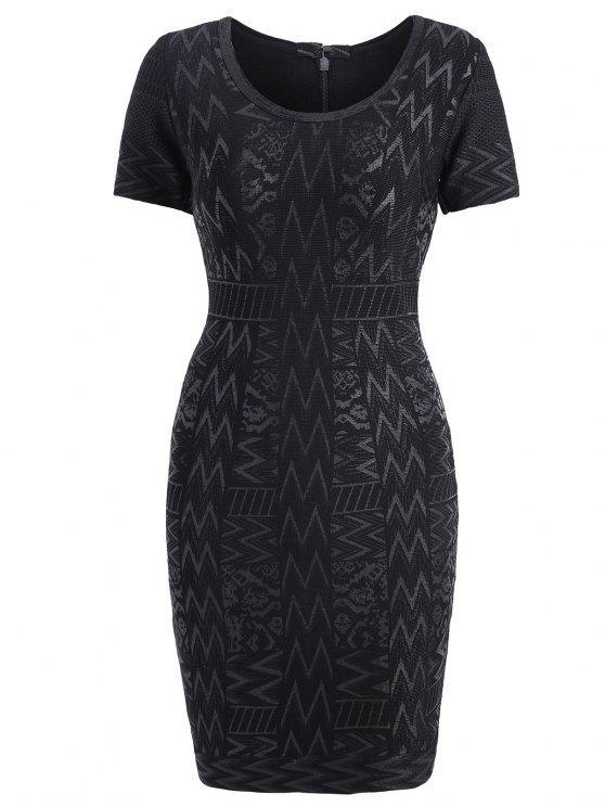 برونزينغ الجاكار قصيرة الأكمام ضمادة اللباس - أسود L