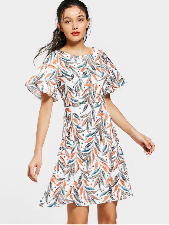 new Flouncy Sleeve Leaves Print Mini Dress - COLORMIX S