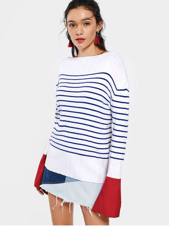 sale Contrasting Stripes Flare Sleeve Sweater - STRIPE M