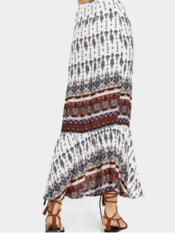 shops Printed Beach Wrap Maxi Skirt - WHITE ONE SIZE