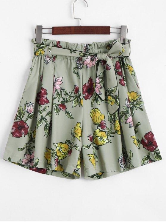 Short Taille Haute Floral Smocké - Floral M