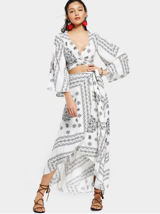 lady Crossover Cut Out Top and Wrap Asymmetrical Skirt - WHITE AND BLACK S