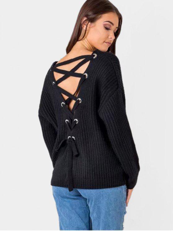 Back Lace Up V suéter de cuello - Negro Única Talla