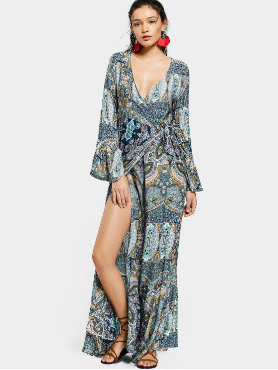 women's Printed Flare Sleeve Wrap Maxi Dress - COLORMIX ONE SIZE