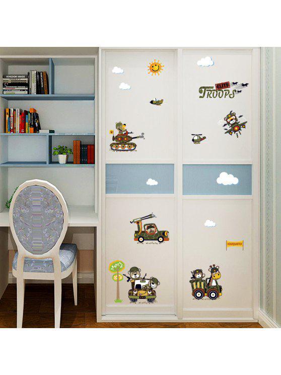 الكرتون الحيوان القوات جدار الفن ملصق للأطفال غرفة - الجيش الأخضر 50*70CM