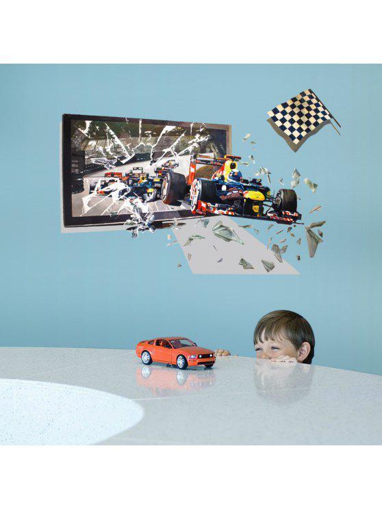 3d سباق السيارات كسر جدار الفن ملصق للأطفال غرفة - مزيج ملون 60 * 90CM