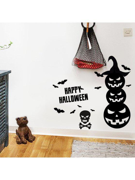 هالوين اليقطين الفينيل جدار الفن ملصقات لغرف النوم - أسود 57*34CM