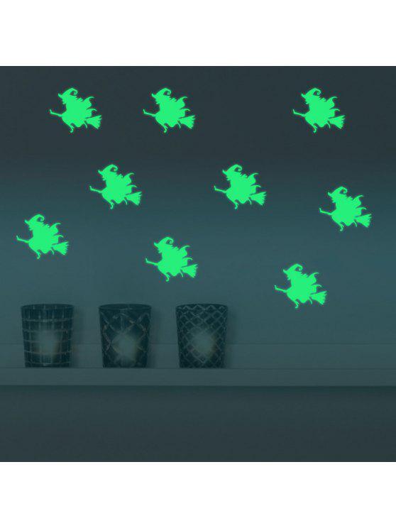 دي هالوين ساحرة مضيئة ملصقات الحائط - نيون الخضراء