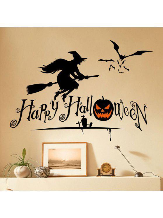 هالوين الساحرة الشكل دي ملصقات الحائط - أسود