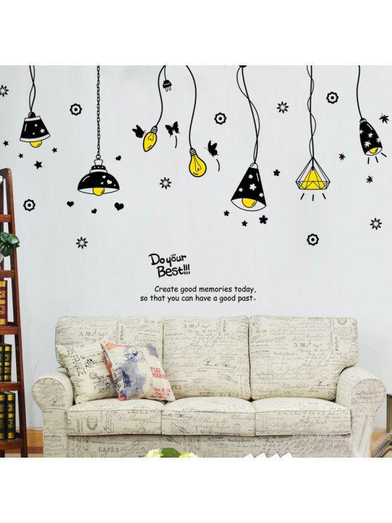 الكرتون مصباح السقف للإزالة ملصقات الحائط الفن - أسود