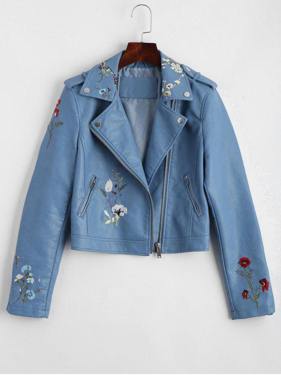 sale Floral Patched Zippered Faux Leather Jacket - LIGHT BLUE L
