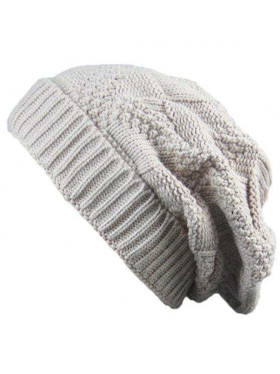 women's Trangle Striped Knitted Folding Beanie Hat - BEIGE