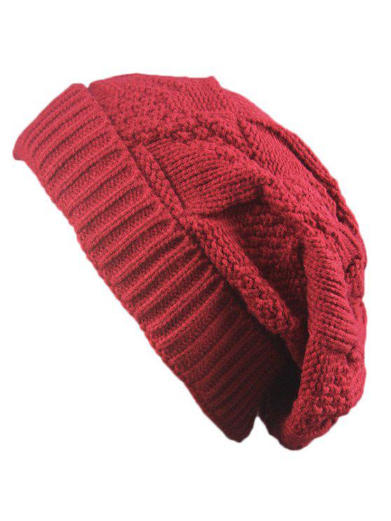 Trangle rayado tricota plegable Beanie Hat - Rojo