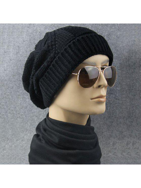 sale Trangle Striped Knitted Folding Beanie Hat - BLACK