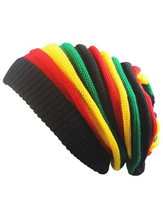 unique Folding Rainbow Stripe Knitted Beanie Hat - COLORFUL